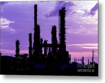 Silhouette Of Oil Refinery Plant At Twilight Morning Metal Print by Mongkol Chakritthakool