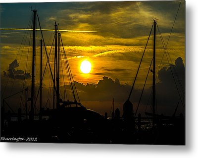 Silhouettes At The Marina Metal Print