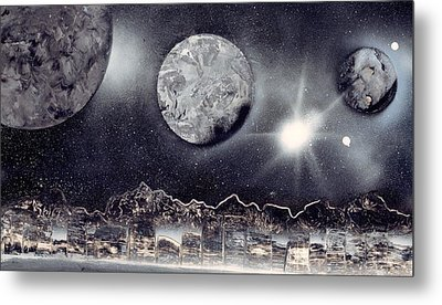 Silver And Black Space City Metal Print by Marc Chambers