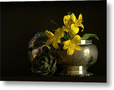 Silver And Golden Metal Print by Cindy Rubin