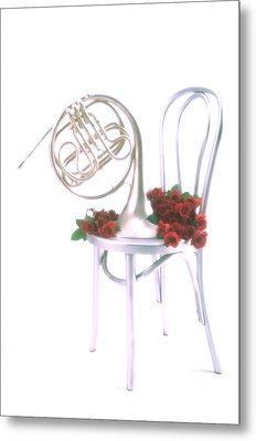 Silver French Horn On Silver Chair Metal Print by Garry Gay