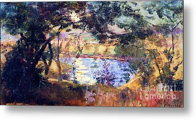 Silver  Moonlight Metal Print by Pg Reproductions