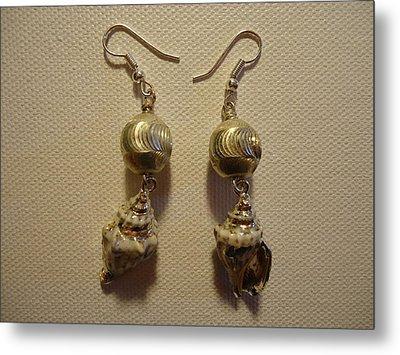 Silver Seashell Dangle Earrings Metal Print by Jenna Green