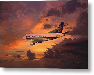 Metal Print featuring the painting Singapore Airlines A380 by Nop Briex