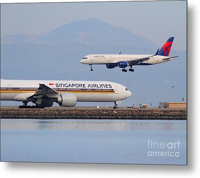 Singapore Airlines And Delta Airlines Jet Airplane At San Francisco International Airport Sfo Metal Print by Wingsdomain Art and Photography