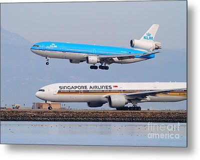 Singapore Airlines And Klm Airlines Jet Airplane At San Francisco International Airport Sfo 7d12153 Metal Print by Wingsdomain Art and Photography