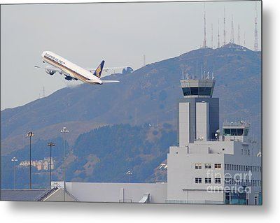 Singapore Airlines Jet Airplane Over The San Francisco International Airport Sfo Air Control Tower Metal Print by Wingsdomain Art and Photography