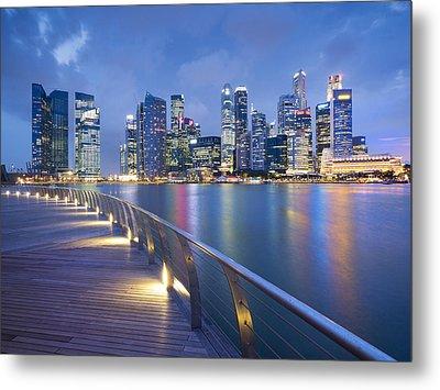 Singapore Skyline Seen Over Marina Bay Metal Print by Travelpix Ltd