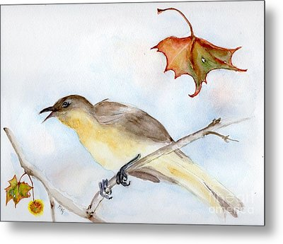 Metal Print featuring the painting Singing Bird In Sycamore by Doris Blessington