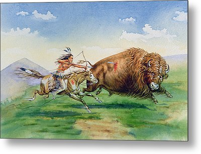 Sioux Hunting Buffalo On Decorated Pony Metal Print by American School
