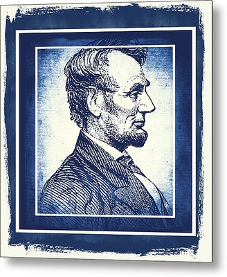 Sixteenth President Blue Metal Print by Angelina Vick