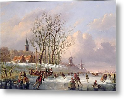 Skaters On A Frozen River Before Windmills Metal Print by Dutch School