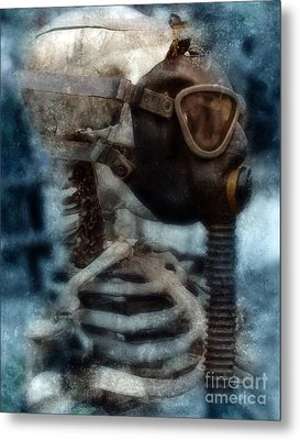 Skeleton In Gas Mask Metal Print by Jill Battaglia