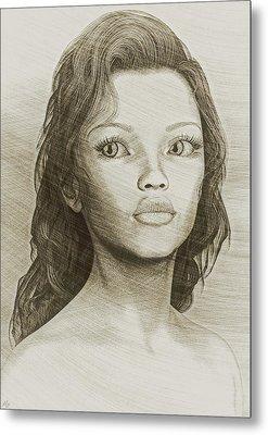 Metal Print featuring the digital art Sketched Portrait by Maynard Ellis