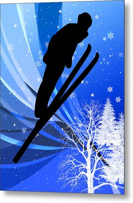 Ski Jumping In The Snow Metal Print by Elaine Plesser