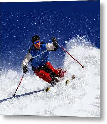 Skiing Down The Mountain Metal Print by Elaine Plesser