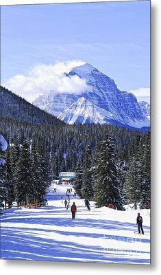 Skiing In Mountains Metal Print by Elena Elisseeva