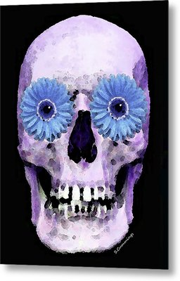 Skull Art - Day Of The Dead 3 Metal Print by Sharon Cummings