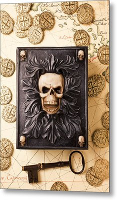 Skull Box With Skeleton Key Metal Print by Garry Gay
