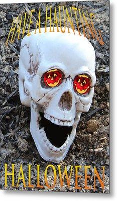 Skull Halloween Card Metal Print by Debra     Vatalaro