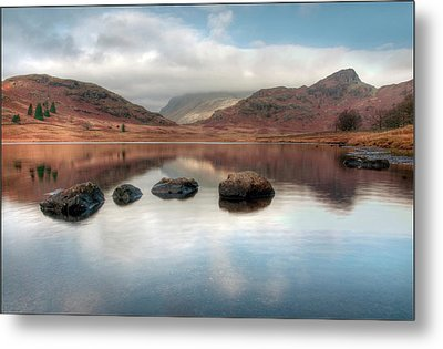 Sky And Mountain Reflection In Lake Metal Print by Terry Roberts Photography