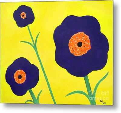 Metal Print featuring the painting Sky High Flowers by Alys Caviness-Gober