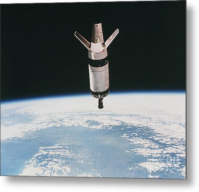 Skylab 3 Expended Second Stage In Earth Metal Print by NASA / Science Source
