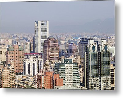Skyline Of Downtown Taipei On A Smoggy Day Metal Print by Jeremy Woodhouse