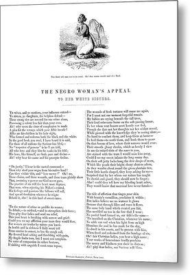 Slavery. An Abolitionist Poem Entitled Metal Print by Everett