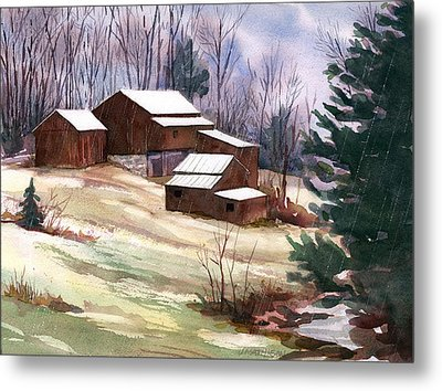 Sleet On Sheds Metal Print by Jeff Mathison