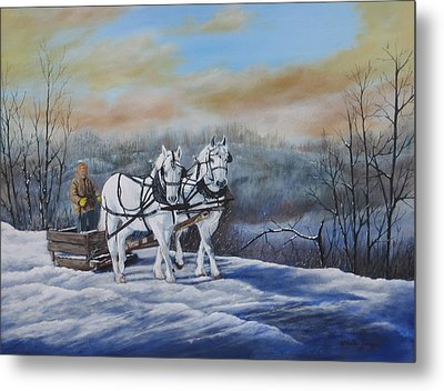 Sleigh Ride Metal Print by Sheila Banga