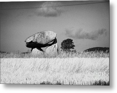 Slidderyford Or Wateresk Dolmen Situated In The Middle Of A Field Of Barley In County Down Northern  Metal Print by Joe Fox
