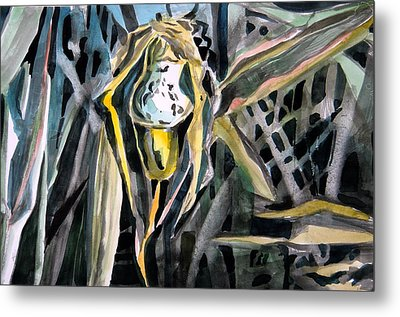 Slipper Foot Gold Metal Print by Mindy Newman