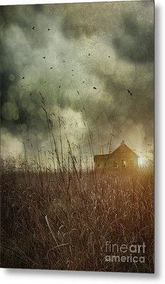 Small Abandoned Farm House With Storm Clouds In Field Metal Print