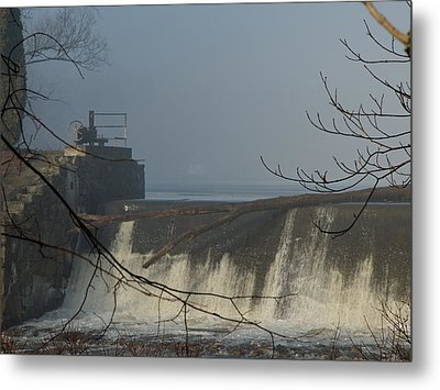 Small Dam In Fog Metal Print