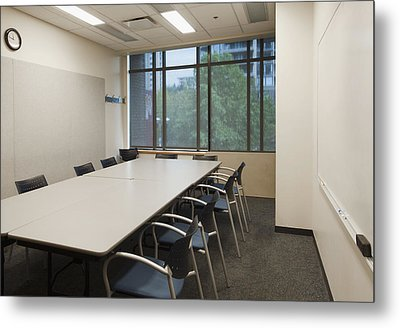 Small Empty Boardroom With A Long Metal Print by Marlene Ford