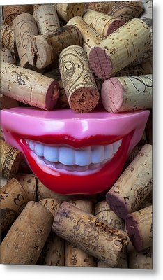 Smile Among Wine Corks Metal Print by Garry Gay