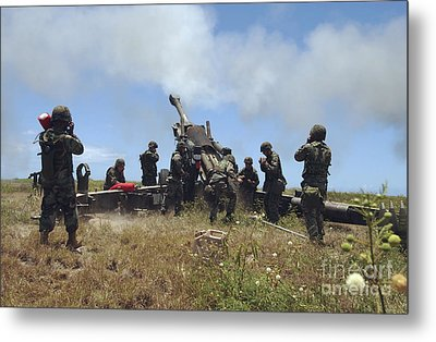 Smoke Fills The Air As Marines Fire Metal Print by Stocktrek Images