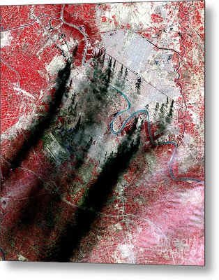 Smoke Plumes Over Baghdad, Iraq Metal Print by NASA / Science Source