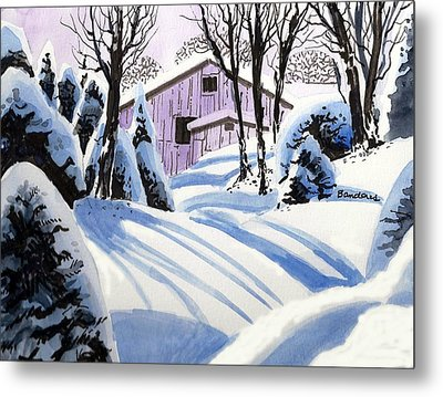 Metal Print featuring the painting Snow And Shadows by Terry Banderas