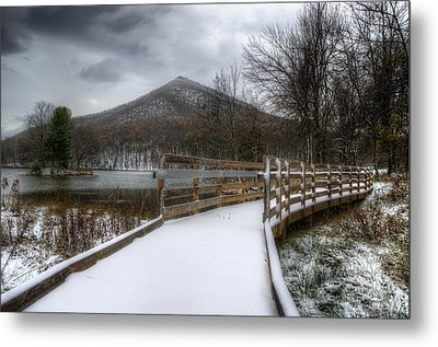 Snow Covered Pathway 3 Metal Print