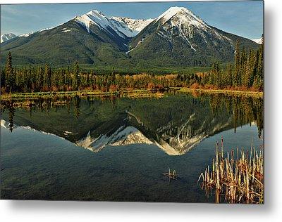 Snow Covered Peaks Of Canadian Rockies Metal Print by Jeff R Clow