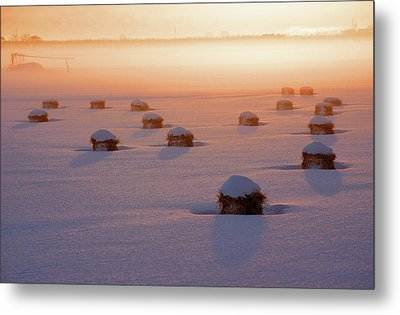 Snow-covered Rice Fields Metal Print by The landscape of regional cities in Japan.