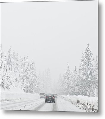 Snow-covered Rural Highway Metal Print by Dave & Les Jacobs