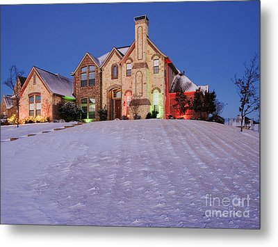 Snow Covered Yard And Stone House Metal Print by Jeremy Woodhouse