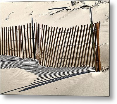 Snow Fence Shadows Metal Print by Richard Gregurich