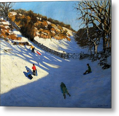 Snow In The Valley Metal Print by Andrew Macara