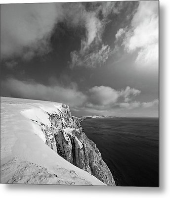 Snow On Highdown, Freshwater, Isle Of Wight Metal Print by s0ulsurfing - Jason Swain