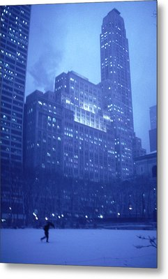 Metal Print featuring the photograph Snow Storm Bryant Park New York City by Tom Wurl
