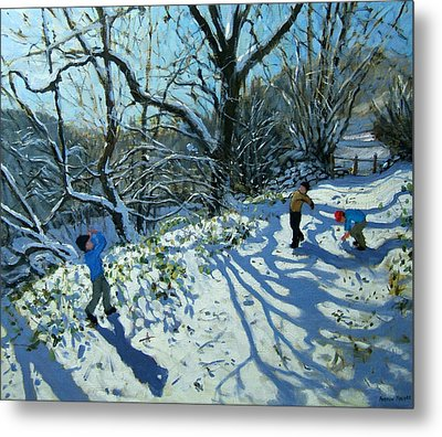 Snowball Fight Metal Print by Andrew Macara
